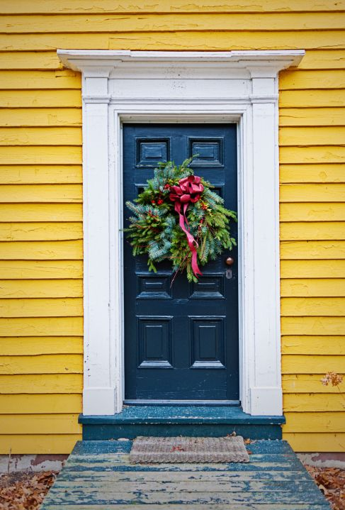 white front door yellow house. green door yellow house our front porch floor looks just like this right now white