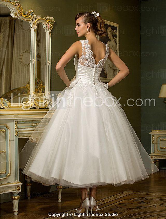 Lanting Bride® Princess Petite / Plus Sizes Wedding Dress - Reception Ankle-length Jewel Tulle with Appliques / Button / Sash / Ribbon 2016 - $89.99