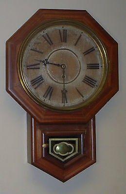 ANTIQUE WATERBURY OCTAGONAL SCHOOLHOUSE, 8 DAY REGULATOR CLOCK, VERY NICE ANTIQUE AMERICAN CLOCK, MADE IN WATERBURY, CONNECTICUT, BY WATERBURY CLOCK COMPANY, CIRCA 1890. MOVEMENT IS IN EXCELLENT COND