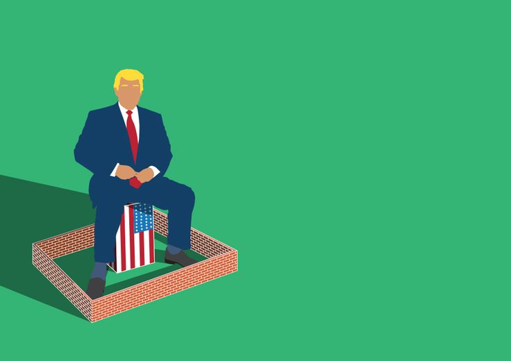 """Some people prefer to be alone"" Illustration about Donald Trump's crazy idea. Politic, United States, Trump, Wall, USA, Mexico, racism, economy, conceptual, illustration, graphic, flat, Salzman International, salzmanart.com, Federico Gastaldi."