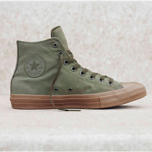 Green Chuck Taylor All Star Hi Sneakers ($73) ❤ liked on Polyvore featuring shoes, sneakers, grip trainer, green shoes, converse trainers, green trainers and grip shoes