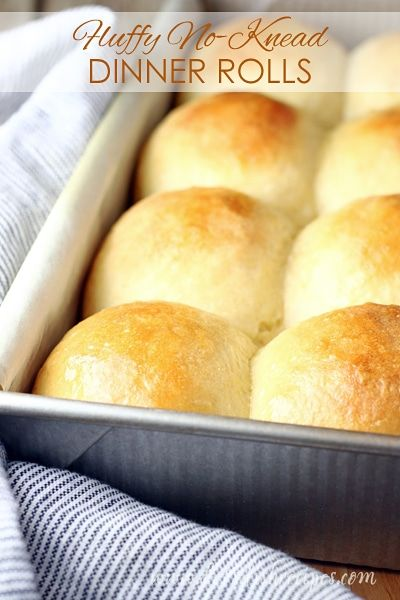 Fluffy No-Knead Dinner Rolls Recipe | A bowl and a wooden spoon is all you need to make these fluffy, no-knead dinner rolls. #bread #rolls