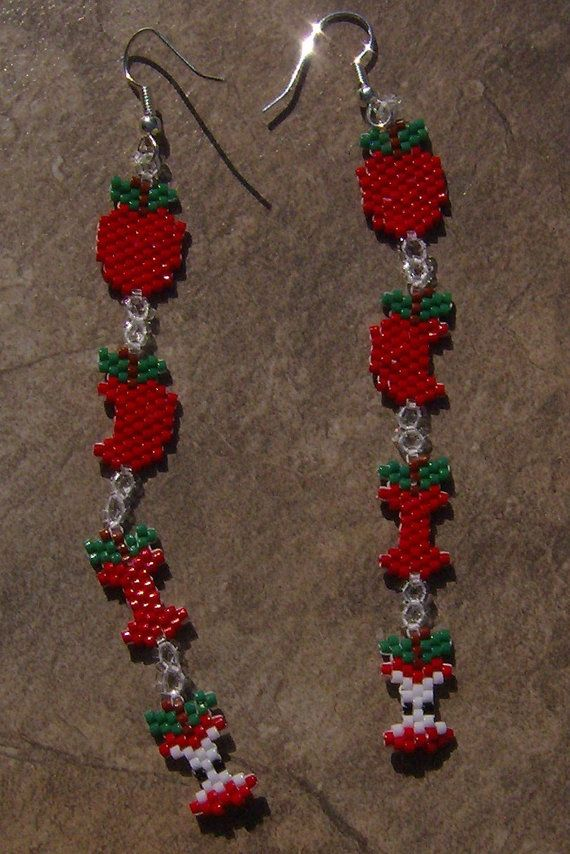Apple Earrings Hand Made Seed Beaded by wolflady on Etsy, $20.00