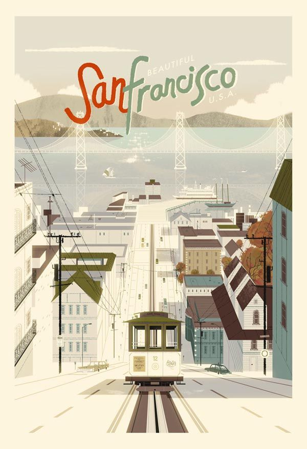 San Francisco.  A lovely vintage style poster illustration of San Francisco by illustrator and designer Kevin Dart. The art print is availabe here.
