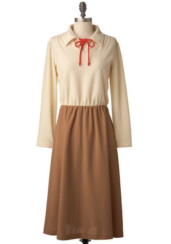 """Vintage Morgan Dress. Off-white and sepia brown twofer dress; Circa 1970s Size is marked 12; See measurements Tag reads, """"Ms Claire New York""""Long sleeve off-white top with a full, sepia brown skirt; traditional notched collar with cherry red string embellishments; elasticized waistMissing matching belt; otherwise, good condition This is a vintage One of a Kind item.  #modcloth"""