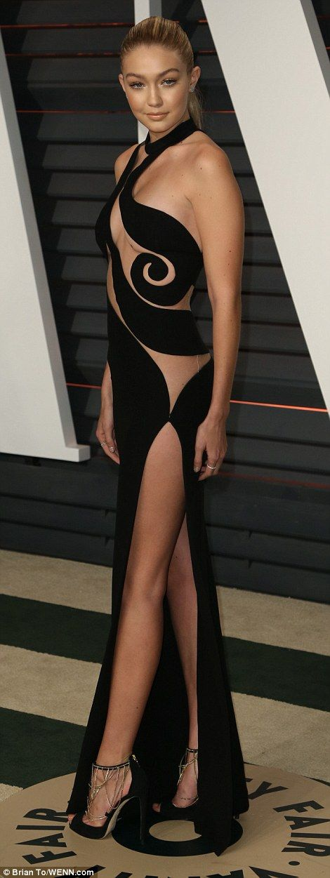 Model and TV personality Gigi Hadid was another who wore a revealing black dress with no underwear to the Vanity Fair party
