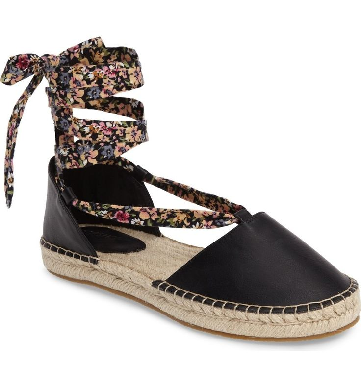 Absolutely adoring these Topshop espadrilles with a floral wrap tie that trails up freshly tanned legs.