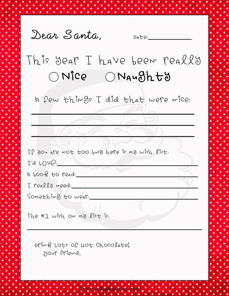 Free Printable Letter to Santa from Polka Dot Pixies