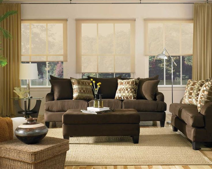 Brown Couch Decorating Ideas | Leather Brown Couch Set For Living Room