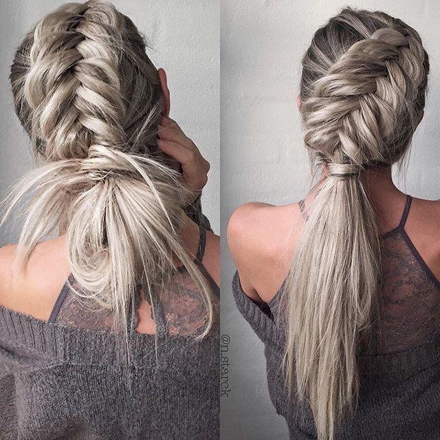 Zigzag Dutch Braided Ponytail Fishtail Braid Hairstyles Braids For Long Hair Cool Braid Hairstyles