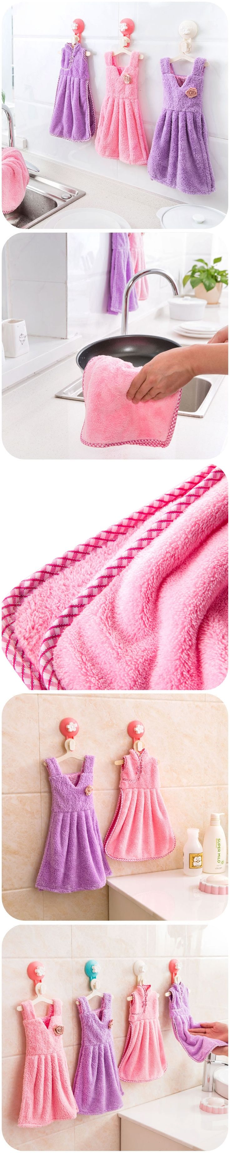 Increased coral dress skirt paragraph thicken velvet towel, super-absorbent can be hanging kitchen bathroom towel