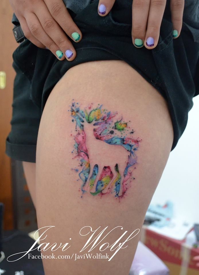 Watercolor deer tattoo.. Patronus?