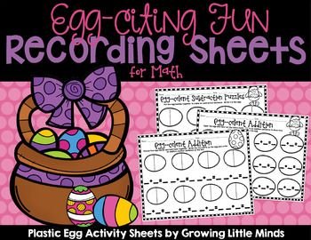 Give your students some fun practice with addition and subtraction using plastic Easter eggs! There are 6 different recording sheets for addition, subtraction, and counting! These make a great center activity.  There are recording sheets included for all.