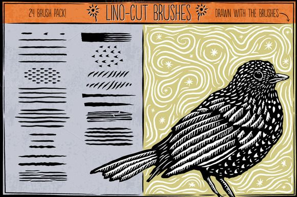 Check out Linocut Brushes by StormCrowDesign on Creative Market