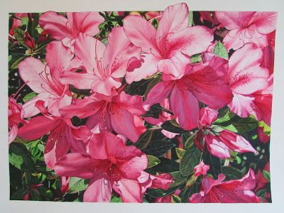 The Azaleas of Roma. On the Spanish Steps. Watercolour on Arches 640 gsm board.