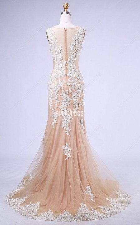 Trumpet Mermaid Scoop Neck Tulle Sweep Train Appliques Lace Champagne Prom Dress