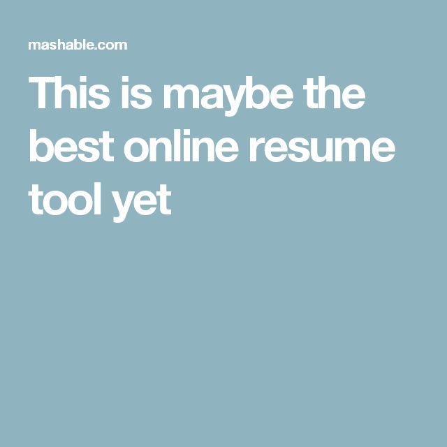 This is maybe the best online resume tool yet