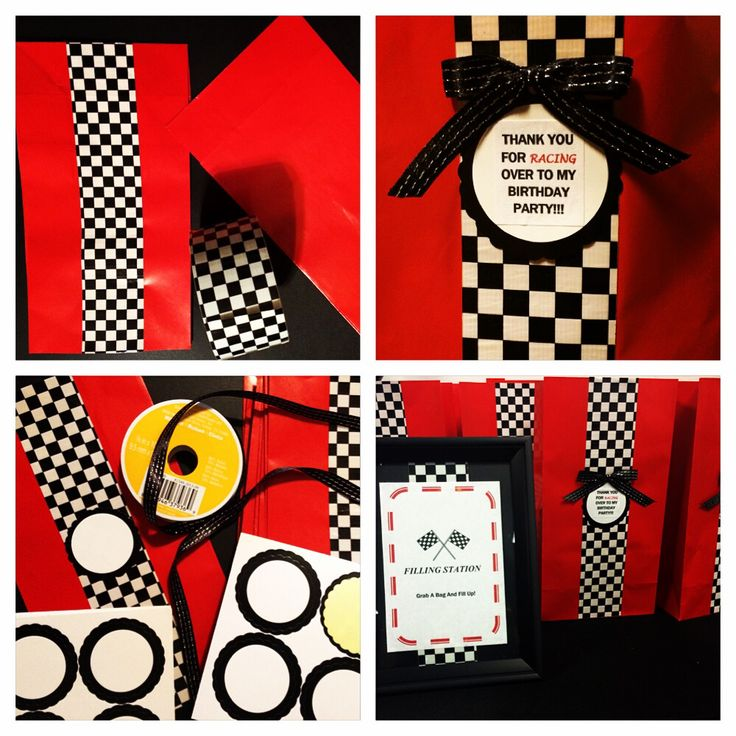 21 best do it yourself crafts by iyahdesigns images on pinterest race car theme party ideas cute party favor bags red paper bags checkered solutioingenieria Image collections