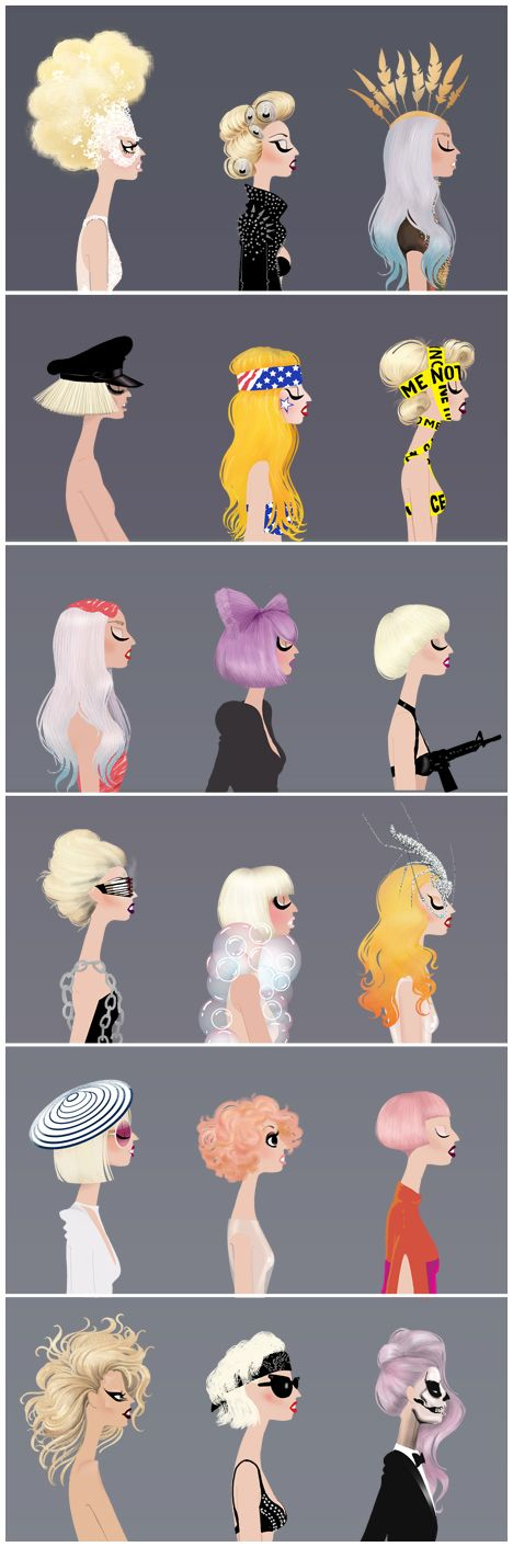 The many faces of Lady Ga Ga: Fashion, Mothers, Lady Gaga, Art, Illustration, Hair Style, Monsters, Drawing
