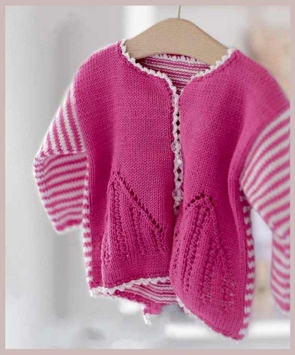 Озорные петельки: Бело-розовый жакетик для девочки