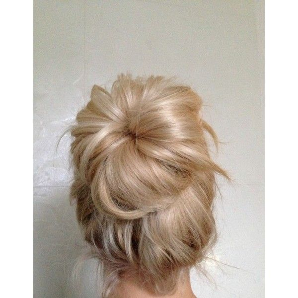 How To Big Messy Hair Bun ❤ liked on Polyvore featuring beauty products, haircare, hair styling tools, hair, hairstyles and hair styles