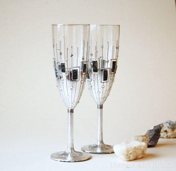 Champagne Glasses Wedding Glasses Toasting por NevenaArtGlass