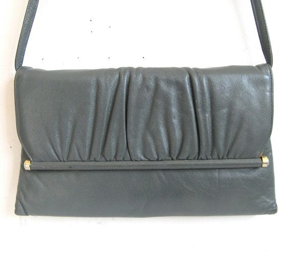 Vintage 1950s Gray Clutch MASTERCRAFT Leather Handbag