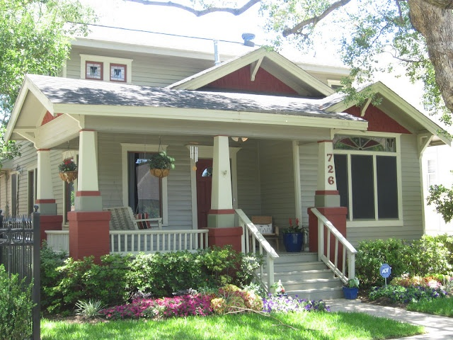 Isn 39 t this front porch fantastic the paint trim stained Bungalow columns