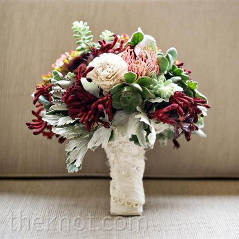 Red White and Green Bouquet A full bouquet of succulents, dusty miller, pincushion poteas and kangaroo paws