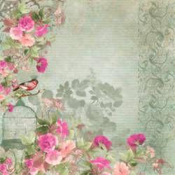 Papéis para Scrapbook -  Flores e Pássaros (SC-037). Disponíveis para venda no nosso site, entregamos em todo o Brasil.