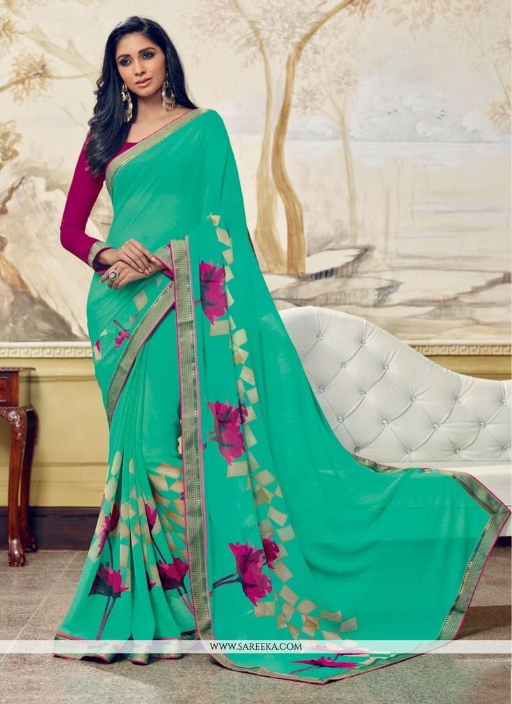 Capture the exuberance of womanhood in its full glory that will bring out your fragility and femininity. Be ready to slip in the comfort zone of sea green georgette casual saree. The embroidered and p...