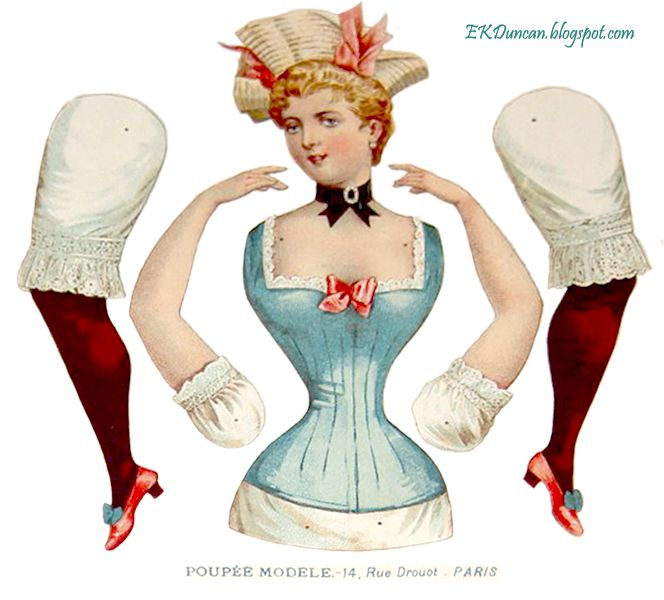 Old World Charm antique french paper doll; art doll