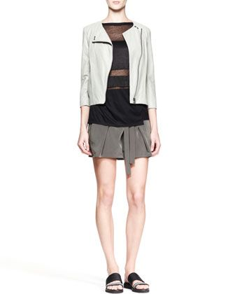 Oxum Collarless Leather Jacket, Horizon Striped Combo Top & Terra Belted Pleat Shorts by Helmut Lang at Neiman Marcus.