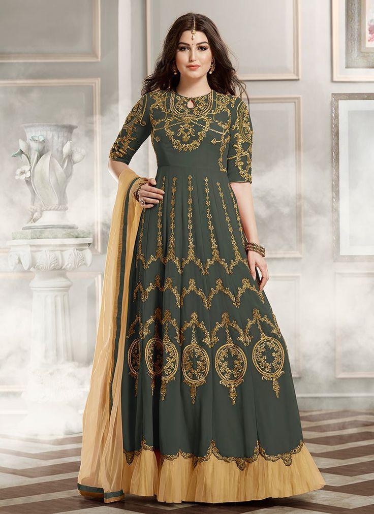 Buy Dark Sage Green Georgette Anarkali Suit, anarkali-suit Online Shopping, SLSVNT1802