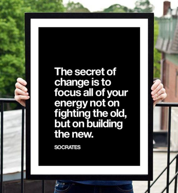 """Socrates Motivational Quote Print """"Secret Of Change"""" by TheMotivatedType @Etsy Inspirational Art, Wall Decor, Black and White, Philosophy Poster https://www.etsy.com/shop/TheMotivatedType"""