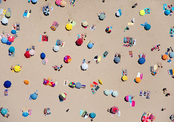 big picture - beach: overhead beach pic with umbrellas by Gray Malin
