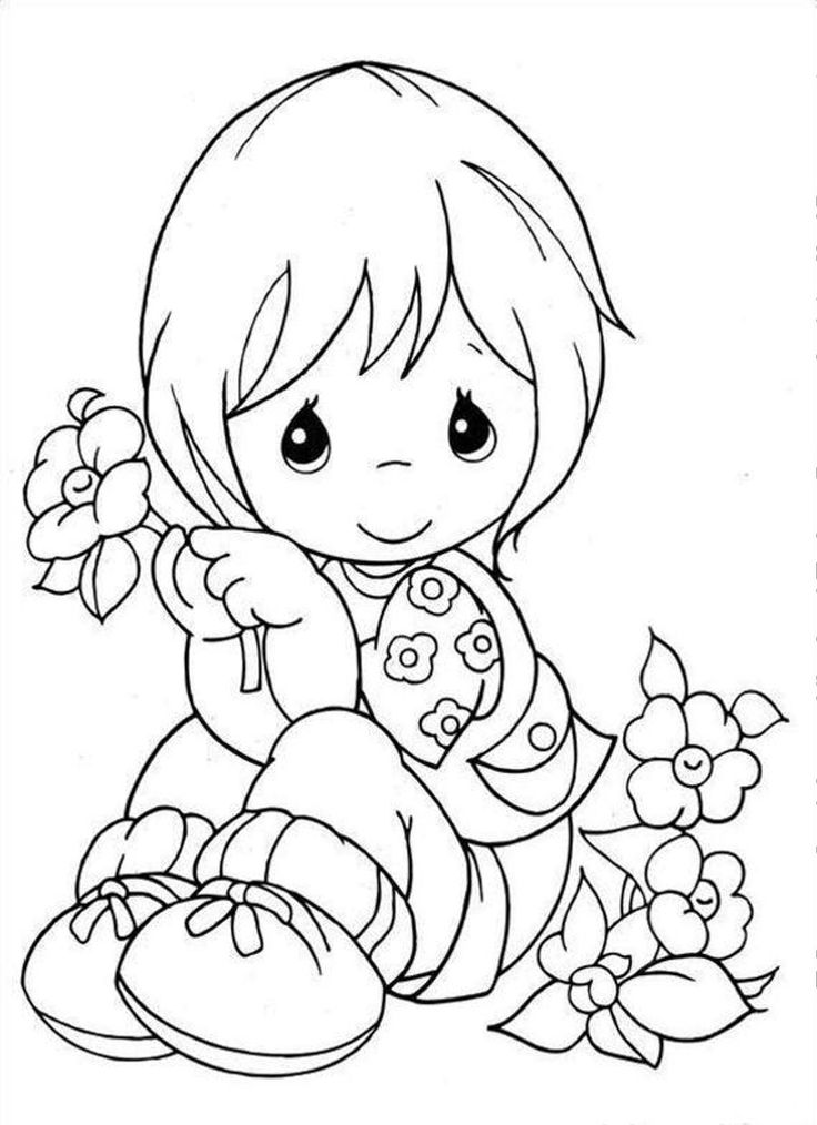 Little Girl holding a flower Coloring pages Pinterest