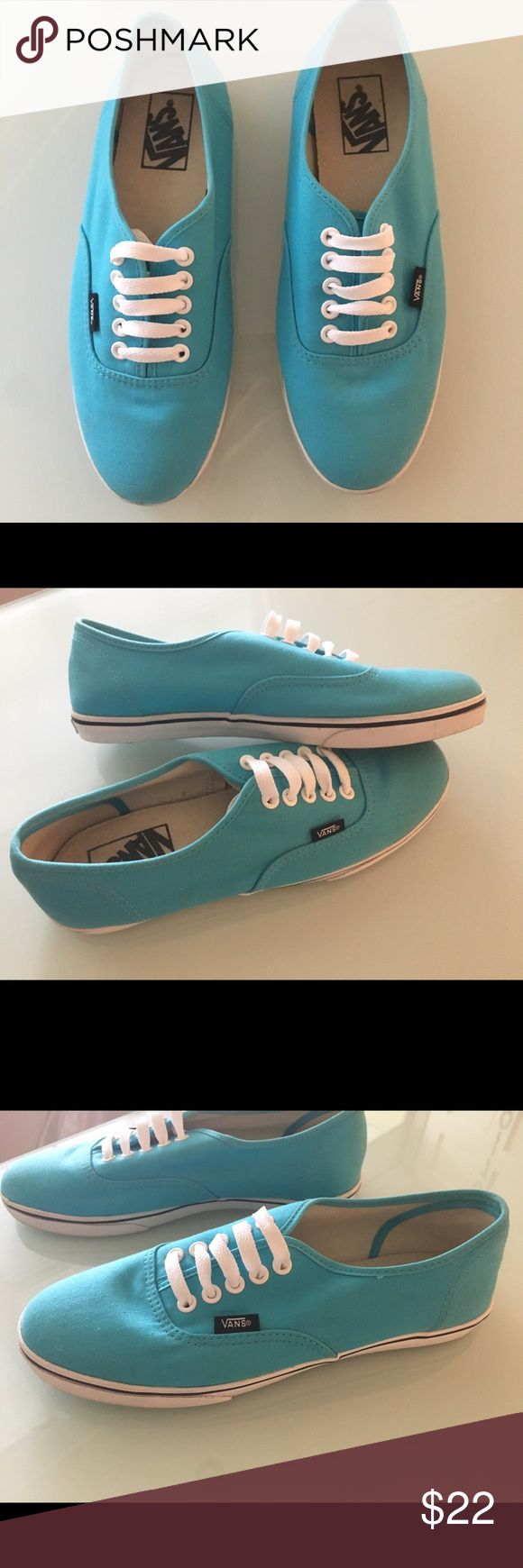 Vans Lo Pro Authentic Shoe in Turquoise Blue Vans Lo Pro Authentic Shoe in Turquoise Blue in size 8 woman's. Worn for about 2 hours until I realized they were too small for me. Perfect like new shoes with no defects or scuffs. Durable canvas upper in Aqua Blue colorway. Slim profile, low top silhouette. Double stitched in high abrasion areas. Vans micro-waffle tread. Cushioned footbed. Vulcanized outsole with True White foxing. Metal eyelets, slim White laces. Vans logo detailing at heel and…