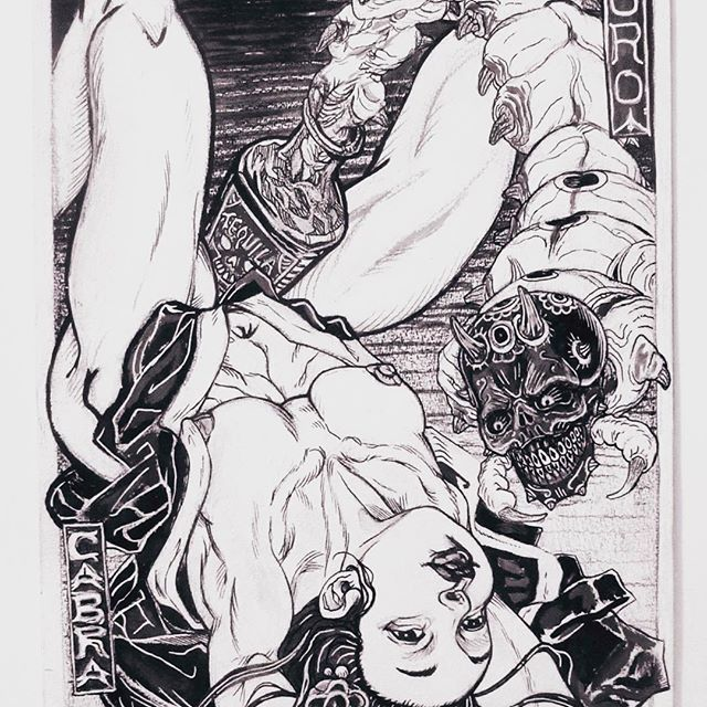 6th and final piece in my portfolio for drawing class last year. Inspired by shunga art and bad taste. #jessestasiuk #illustration #blackandwhite #shunga #tequilla #skull #horror #badtaste #worm #geisha #lucid #japanese