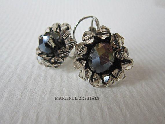 Black Rainbow Drop Flower Earrings Dark by MARTINELICRYSTALS