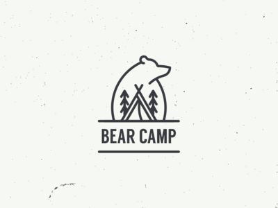 Bear Camp - Logo, Brand Typography Inspiration - Bear, Tree, Tent, Teepee, Tipi - Line Icon