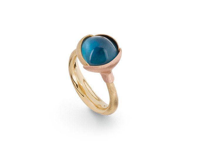Dänische Handwerkskunst aus Familientradition begeistert alle - Ole Lynggaard: Ring Lotus London blau Topaz A2651-423