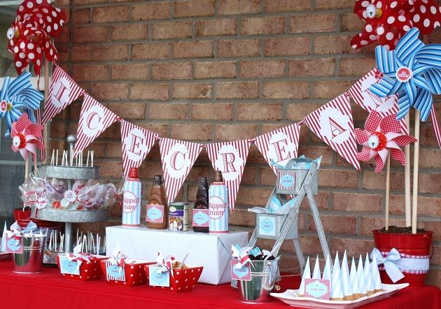 Everyone loves ice cream, so why not have an ice cream party! These fun table decorations will tie everything together