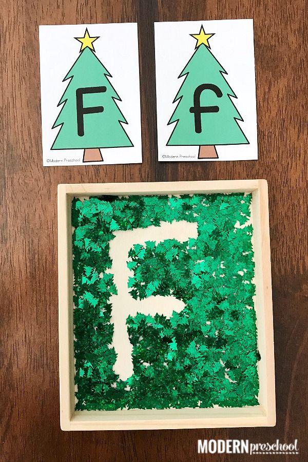 Christmas Tree Alphabet Writing Tray For Preschool Christmas Writing Preschool Christmas Hanukkah Preschool