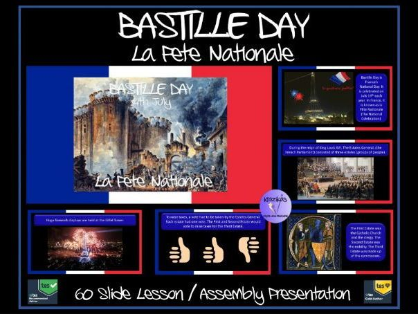 Bastille Day 14th July (La Fête Nationale) and the French Revolution PowerPoint Lesson / Assembly