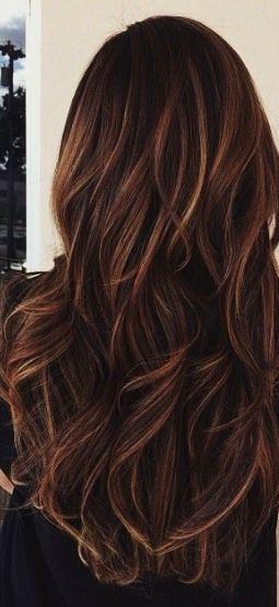 cabelos castanho escuro com mechas caramelo <3