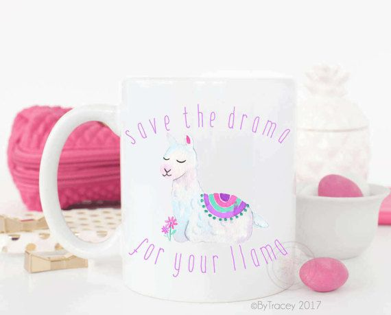 Save the drama for your llama with super cute watercolor llama design  >> 11 or 15oz white mug >> Image printed on both sides >> 3-5 business day processing >> 2-3 business day priority shipping  **Please send me a convo with any questions prior to placing your order. Also, Please make sure to leave details for any personalized items, not doing so will result in a delay in processing**   This item is professionally printed & heat pressed in my home studio. It is t...