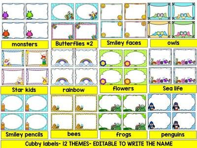 EDITABLE CUBBY TAGS- CUBBY LABELS, 12 THEMES AND 50 BLANK LABELS from KinderPrep on TeachersNotebook.com (42 pages)                                                                                                                                                     More