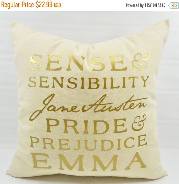 SALE Gold & Beige Pillow Cover. Jane Austen Pillow Cover.