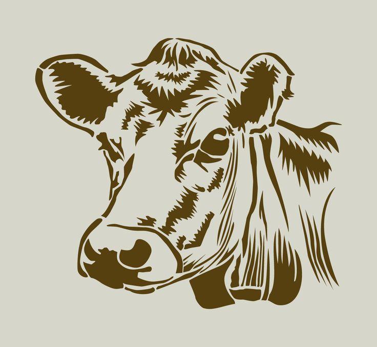 Vache. Tête de vache. Pochoir en vinyle adhésif (ref 143) : Décoration d'intérieur par larabesque